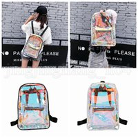 Wholesale waterproof hockey bag for sale - Group buy Women Hologram Laser Backpack Holographic School Bag Waterproof Beach Travel Laser Shining Jelly Shoulder Bags Outdoor Bags OOA5212