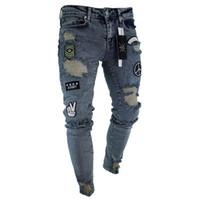 sillones de sarga para hombre al por mayor-Pantalones para hombre de diseñador Slim Fit Jeans rasgados Hombres Hi-Street Jeans de mezclilla pitillo desgastados desgastados Rodilla Hip Hop Washed Jeans destruidos S-3XL