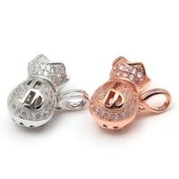 925 Sterling Silver Fashion Jewels Treasure Bag Pendant Shiny Gem-studded  Moneybag Charm For Woman Gift 8971af10bda3