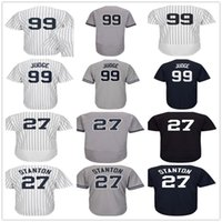 Wholesale Navy Kids Shorts - Mens Womens Youth 27 Giancarlo Stanton 99 Aaron Judge Gray White Navy Blue Home Road Lady Kids New York Baseball Jerseys