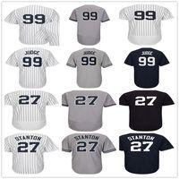 Wholesale Black Shorts Ladies - Mens Womens Youth 27 Giancarlo Stanton 99 Aaron Judge Gray White Navy Blue Home Road Lady Kids New York Baseball Jerseys
