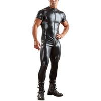 combinaison en cuir noir hommes achat en gros de-Plus Size 3XL Homme Combinaison En Cuir Latex Combinaison Noir Brillant Erotique Combinaison À Manches Courtes Combinaison Zentai Body Wear