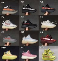 Wholesale Green Color Baby Shoes - Baby Kids Running Shoes Kanye West SPLY 350 Shoes Boost V2 Children Athletic Shoes Boys Girls Sneakers Black Red Cream White Zebra 13 Color