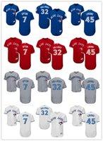 jay azul venda por atacado-2018 homens personalizados mulheres juventude Jays Azul Jersey # 7 B.J. Upton 32 Roy Halladay 45 Francisco Liriano Casa Azul Branco Cinza Jerseys de Beisebol