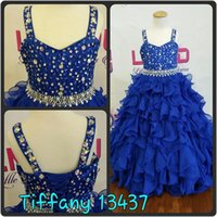 Wholesale girls dress ballgown for sale - Group buy Ruffles Girls Pageant Dresses Crystals Rhinestones Blue Chiffon Girls Prom Party Dance Gowns Lace Up Back Real Pictures Ballgown Ritzee