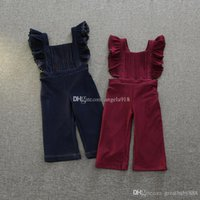 Wholesale Solid Color Baby Bibs - New baby imitate Denim suspender pants fashion kids Wide-legged Bib pants children Lace sleeves bell-bottoms Jumpsuit pants C1603