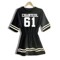 Wholesale Korean Night Fashion - Korean Fashion KPOP EXO Women Mini Dresses Summer Harajuku Letter Print Short Sleeve O-Neck Cotton White and Black Dress Vestido