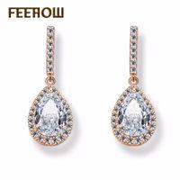 грушевые прелести оптовых-FEEHOW Charms Women Party Jewelry Fashion Teardrop Micro Inlay Craft Pear Shape Crystal Drop Earrings FWEP086