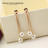 arete largo blanco perla al por mayor-Rose Gold Color White Simulated Pearl Simple Long Style Tassel Woman Earring Wholesale