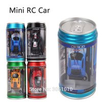 Wholesale car remote control frequency - 4 Colours 1 Pcs New Small RC Toy Coke Can Mini RC Car Radio Remote Control Micro Racing Car 4 Frequencies Toy For Children