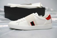 Wholesale Sneaker 34 - New luxury man women ace sneaker with brown elasticity stripes top quality luxury designer shoes white black size 34-46