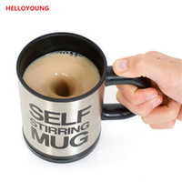 Wholesale mix cups for sale - Group buy Preference ml Automatic coffee mixing mug drinkware stainless steel coffee self stirring electic cooking tool tea cup
