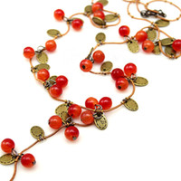 Wholesale vine necklace resale online - 2018 New fashion long sweater chain jewelry for women Korean trendy beautiful vine red cherry beads necklace pendant accessories