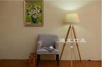 piso de led para casa al por mayor-Trípode náutico con estilo de teca Lámpara de pie de madera Vintage Home Bedroom Decor