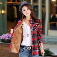 Wholesale college denim jacket for sale - Group buy New Winter Warm Women Denim Velvet Thicker Jacket Plaid Shirt Style Casual Coat Female College Style Casual Jacket Outerwear