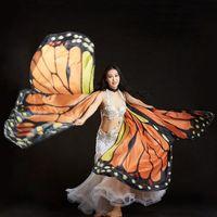 asas alaranjadas da borboleta venda por atacado-Criativo Laranja Arco-Íris Borboleta Dança Do Ventre Isis Asas Trajes de Dança Do Ventre Acessório Stage Play Club Desempenho Adereços Asa