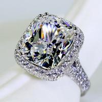 Wholesale cushion cut engagement rings - Fashion Jewelry fashion ring cushion cut 10ct Gem 5A Zircon stone 14KT White Gold filled Women Engagement Wedding Band Ring