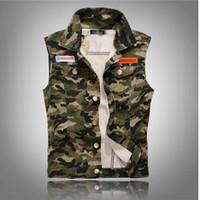Wholesale wholesale sleeveless denim jackets online - Men s Camouflage Denim Vest Men Camo Brand Clothing Male Jeans Waistcoat Man Sleeveless Jackets Plus Menswear Tank top cowboy waistcoat