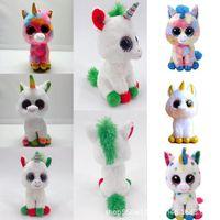 Wholesale big stuffed animals for sale - TY Beanie Boos Plush Doll cm Unicorn Stuffed Animal Soft Big Eyes Kids Toys Christmas Gift Novelty Items OOA5550