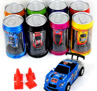 Wholesale remote control racers - Mini Coke Can Remote Control car racer Speed RC Micro Racing Car Speed Toy Cars Gift Kids collection Novelty Items FFA237 48pcs 8colors