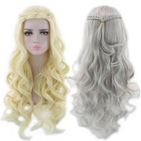 Wholesale dragon wig - ZhiFan Game of Thrones Cosplay Wig Daenerys Targaryen Wig 28inch Mother of Dragons Cosplay Gold Silver Color