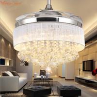 yemek odası taraftarları toptan satış-Modern Tavan Fanı Lamba Uzaktan Kumanda Kristal Işıkları katlanır Oturma Yemek Odası Yatak Odası Modern LED Fan Lambaları 110 V 220 v