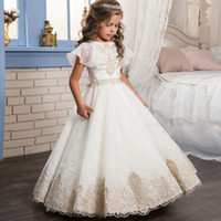 Wholesale wedding dresses for children cute - Flower Girl Dresses For Weddings Sleeveless Children First Communion Dress Floor Length Tulle Pageant Gowns 2018 Cute MC1532
