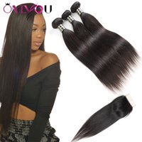 Wholesale machining parts products - Onlyou Hair Products Brazilian Virgin Straight Human Hair Weave Bundles Remy Weaves 3 bundles with Lace Closure Middle Part and Free Part