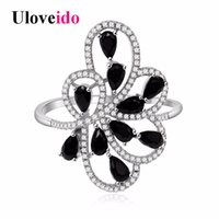 Wholesale Black Costume Jewelry Rings - whole saleUloveido Costume Jewelry Rings for Women Black Flower Ring Female Wedding Jewelry New Year Gifts Women's Party Decorating PJ101