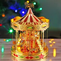 Wholesale carousels toys for sale - Group buy Building Block Bricks Kits D Metal Nano Puzzle Merry GO Around Carousel Model Kits DIY D Laser Cut Assemble Toys For Audit