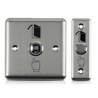 erişim kontrol düğmesi toptan satış-12 V Paslanmaz Çelik Çıkış Düğmesi Itme Anahtarı ev güvenlik Kapı Kilidi Açacağı Manyetik Kilit Erişim Kontrolü Ev Güvenlik Koruma