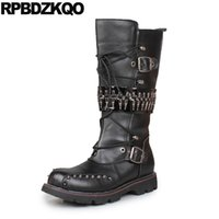 Wholesale embellished boots - Knee High Shoes Black Quality Fashion Lace Up Embellished Tall Retro Metalic Top Vintage Motorcycle Boots Waterproof Rock Thick
