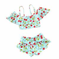 ingrosso costumi da bagno rose-Costume da bagno bikini bambina stampa ciliegio 2 pezzi Costume da bagno costume bikini Tankinis bambina costume da bagno 2 pezzi 2-9T