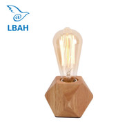 Wholesale iron table lamp vintage - Vintage Wood Table Lamp Fashonial Wood Light Modern Industrial lamp Beside Table Union Lighting Fixtures