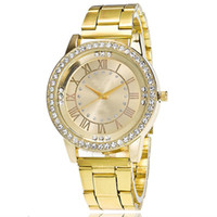 Wholesale wholesale watchs - Stainless Steel Wrist Watchs Crystal Rhinestone Women Analog Quartz Bracelet Watch