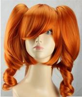 langes lockiges haarperücke orange großhandel-Freies shipping ++++ Cosplay Lolita orange lange lockige Frauen-Mädchen-Haar-Perücke + zwei Pferdeschwanz