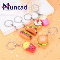 автомобильный кулон оптовых-Simulation  Hamburger Popcorn French Fry Key Chain Pendant Automobile Key Ring Accessories Originality Small Pendant Gift