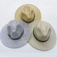 0650314a477 mens fedoras Canada - Wholesale Gentlemanlike Men Straw Fedora Hats Western  American Mens Casual Sun Hat