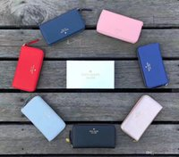 Wholesale 2018 Patent leather shinny luxury brand long wallet Fashion high quality original box coin purse women man classic zipper pocket