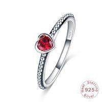 echte verlobungsringe china großhandel-Heißer Verkauf Echt 925 Sterling Silber Hochzeit Ringe für Frauen Silber Weiß Rot Rosa diamant Ringe Damen Engagement Schmuck Geschenk