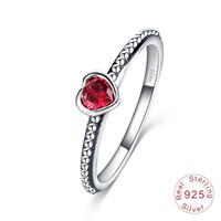 bijoux diamants roses achat en gros de-Vente chaude Réel 925 Sterling Argent Anneaux De Mariage pour Femmes Argent Blanc Rouge Rose diamant Anneaux Dames Engagement Bijoux Cadeau
