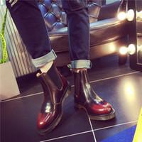 novo dr venda por atacado-New England Estilo Dr 100% Couro Genuíno Botas Sapatos HomensMulheres botas Curtas Designer de Marca Botas de Motociclista Tamanho 35-45