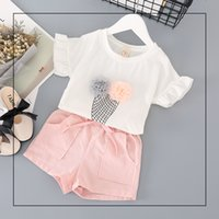 Wholesale Ice Cream T Shirts - NEW girs Kids sets Pink Ice cream design T shirt + pink short summer girl's set causal girl t shirt sets kids clothing