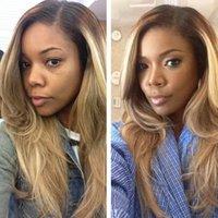 pelucas parte derecha al por mayor-8 # brown ombre blonde 27 # mixed # 613 natural ondulado parte derecha parte delantera sintética peluca de encaje peines