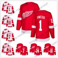 7b1883723 Detroit Red Wings  1 Terry Sawchuk 7 Ted Lindsay 10 Alex Delvecchio 12 Sid  Abel 24 Bob Probert White Retired Player Hockey Jerseys