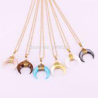 Wholesale Horn Shaped Pendants - 6Pcs Mixed Colors Gold Color Wire Wrap Double Horn&moon crescent shape Rainbow Shell Pendant Chain Necklaces