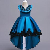 ropa de diamante azul al por mayor-Las niñas de alta calidad de diamantes vestidos de noche los niños niña de encaje vestido de bola de algodón de los niños de la muchacha vestido de fiesta vestido 2019 nuevo llegado