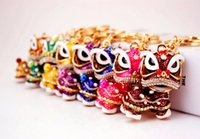 Wholesale Lions Keychain - New Chinese dance lion keychain party gift bag car Charm Key Holder Ring Fashion Accessories animal keychain LY