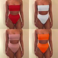 Wholesale orange push up swimsuits for sale - Group buy Lady Bikini Bandage Woman Swimsuit Push Up Femme Swimwear Green Orange Red Black Pink Two Piece Suits ys V