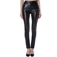 36286af65a62 2018 New Woman Slim PU Leather Pencil Pants High Waist Zipper Casual Solid  Bodycon Trousers Black Ladies XXXL Plus Size Leggings